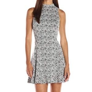 Greylin High Neck Fit and Flare Sleeveless Dress M